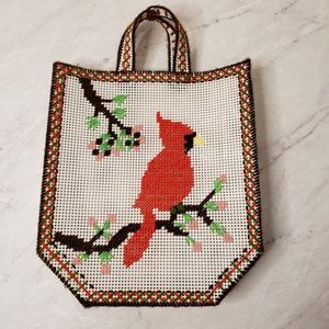 Vintage Cardinal Cross Stitch Needlepoint Tote